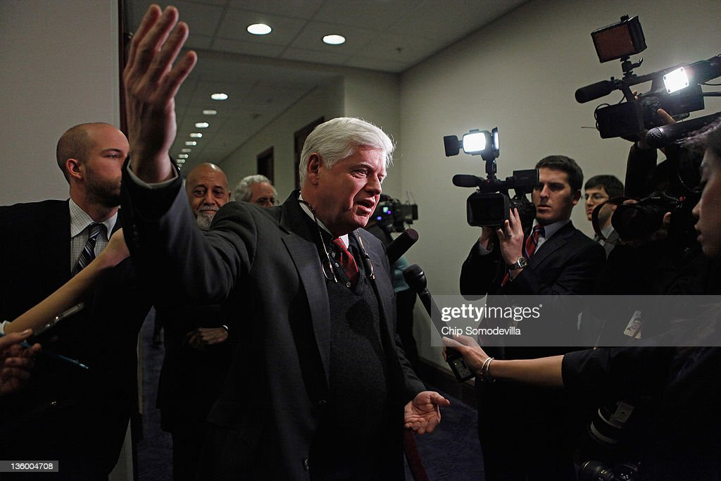 Rep. John Larson (D-CT) talks with members of the news media before heading into a House Democratic caucus meeting at the U.S. Capitol December 19, 2011 in Washington, DC. The House is expected to reject legislation passed by the Senate last week extended the payroll tax cuts and unemployment benefits by two months instead of a year, which House Republicans are demanding.