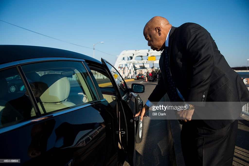 Rep. John Lewis, D-Ga., arrives on the Edmund Pettus Bridge in Selma, Ala., for media interviews and photos on Saturday, Feb. 14, 2015. Rep. Lewis was beaten by police on the bridge on 'Bloody Sunday' 50 years ago on March 7, 1965, during an attempted march for voting rights from Selma to Montgomery.