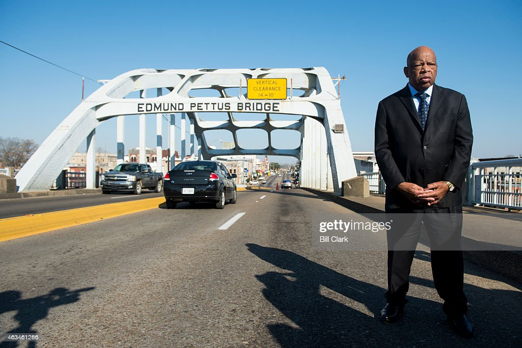 Rep. John Lewis, D-Ga., stands on the Edmund Pettus Bridge in Selma, Ala., in between television interviews on Feb. 14, 2015. Rep. Lewis was beaten by police on the bridge on 'Bloody Sunday' 50 years ago on March 7, 1965, during an attempted march for voting rights from Selma to Montgomery.