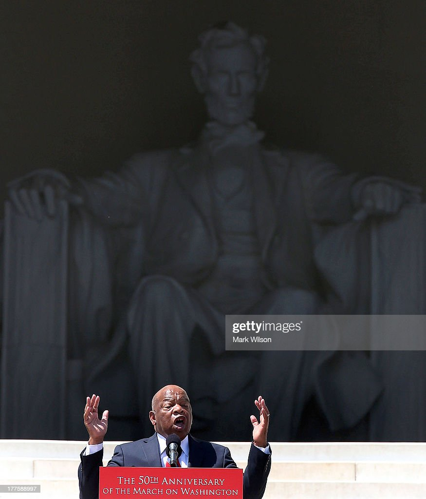 Rep. John Lewis (D-GA) speaks during the 50th anniversary of the March on Washington and Dr. Martin Luther King, Jr.'s 'I have a Dream' speech at the Lincoln Memorial on August 24, 2013 in Washington, DC. The event included a commemorative march and rally along the historic route followed on August 28, 1963 and is being led by civil rights leader Al Sharpton and Martin Luther King III, King's oldest son.Ê
