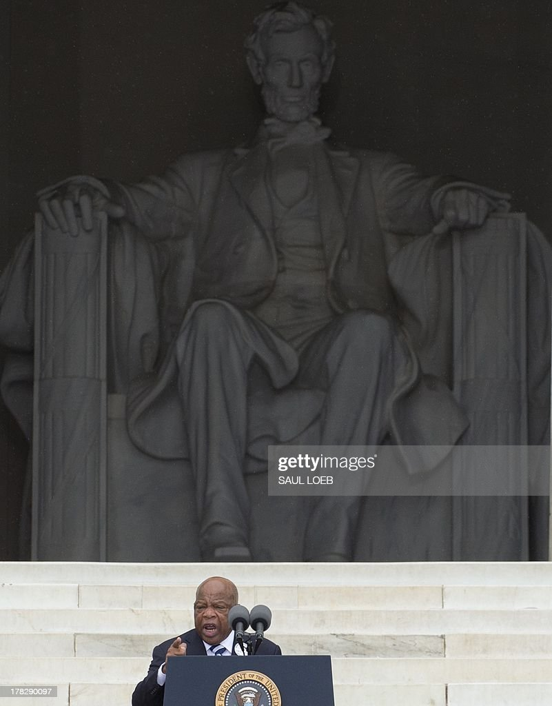 Rep. John Lewis (D-GA) speaks during the Let Freedom Ring Commemoration and Call to Action marking the 50th anniversary of the March on Washington for Jobs and Freedom at the Lincoln Memorial in Washington, DC on August 28, 2013. Thousands gathered on the mall on the anniversary of the march and Dr. Martin Luther King, Jr.'s famous 'I Have a Dream' speech. AFP PHOTO / Saul LOEB