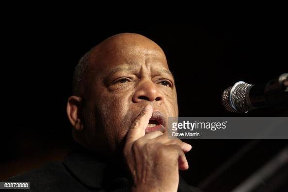 S Rep John Lewis speaks to supporters at a campaign rally for Democratic challenger Jim Martin in front of the State Capitol on December 1 2008 in...