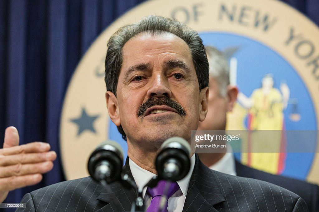 U.S. Rep. Jose E. Serrano (D-NY) speaks at a press conference introducing new legislation that would require smartphone manufacturers to create a 'kill switch' for people to deactivate their phones if they are stolen, on March 3, 2014 in New York City. The bill has the support of New York State Attorney General Eric T. Schneiderman and New York City Police Commissioner Bill Bratton.