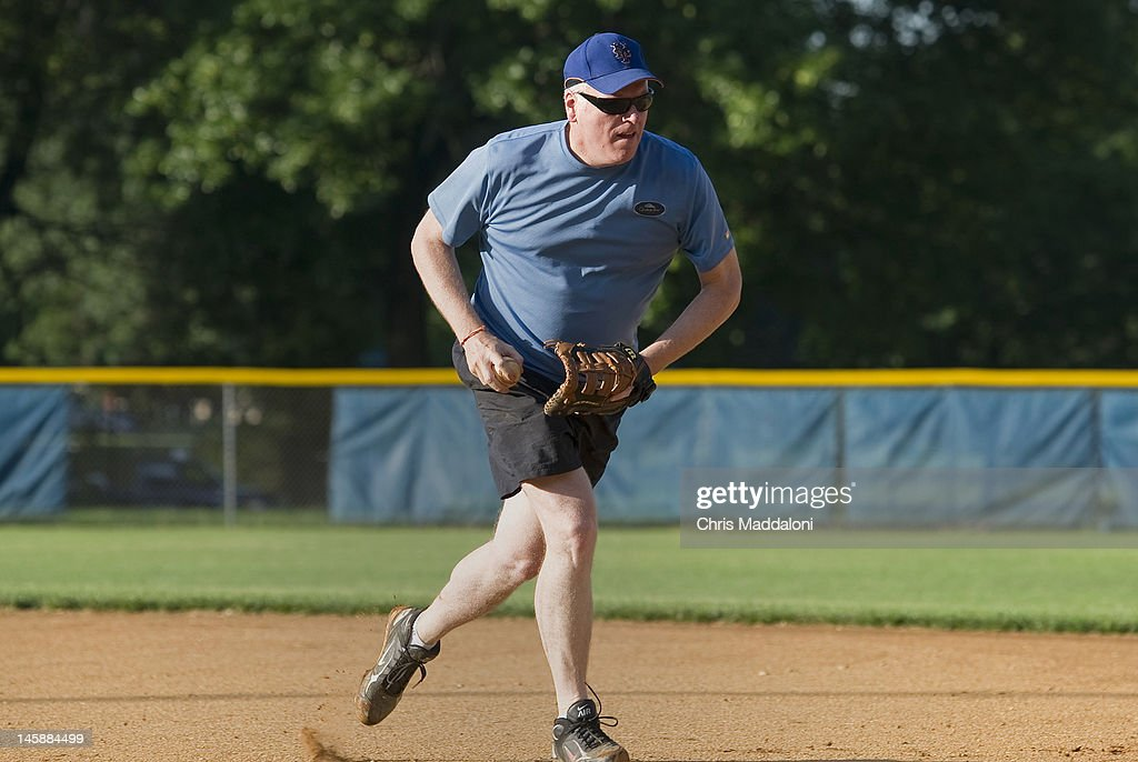 Rep. Joseph Crowley, D-N.Y., on first base during the Democrats' baseball practice at Hamilton Junior High School. The Democrats will face off against the GOP in the 50th Annual Congressional Baseball Game at Nationals Stadium in Washington on July 14, 2011.