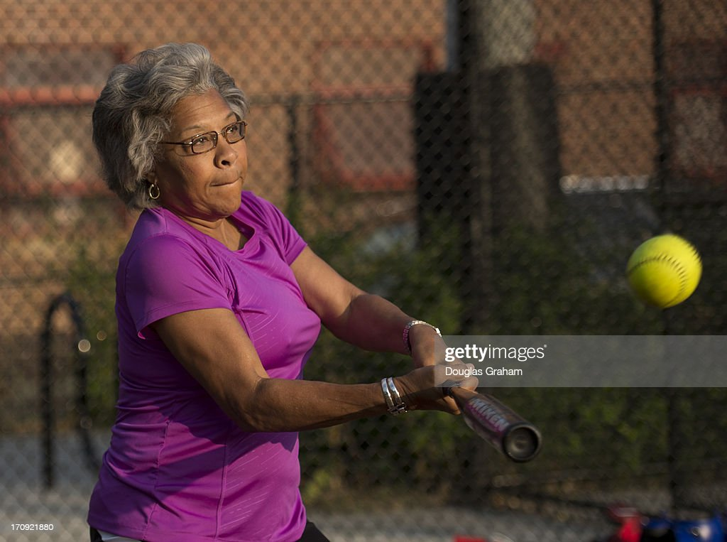 Rep. Joyce Beatty, D-OH., during practice for the Congressional Womens Softball Game at Watkins Elementary in Washington, D. C. on June 20, 2013. The bi-partisan group of women Members of Congress take the field against the the women of the DC Press Corps to raise funds and awareness for young women with breast cancer and will be played on Wednesday, June 26, 2013.