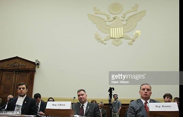 US Rep Justin Amash US Rep Chris Gibson and Tom Rooney participate in a House Foreign Affairs Committee hearing about the War Powers Act on May 2011...