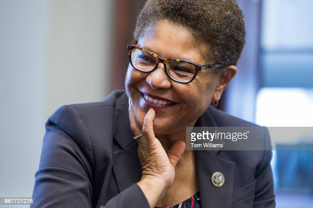 Rep Karen Bass DCalif talks with foster care alumni during a shadow day where the group can learn about Congress from their representative on May 24...