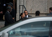 Rep Keith Ellison center arrives outside the funeral of Philando Castile at the Cathedral of St Paul on July 14 2016 in St Paul Minnesota Castile was...