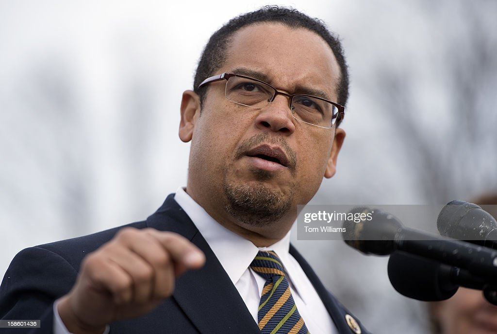 Rep. Keith Ellison, D-Minn., speaks at a news conference at the House Triangle with faith leaders to urge Congress to protect programs such as Social Security, Medicaid, and Medicare and call on lawmakers make sure 'everyone pays their fair share.'