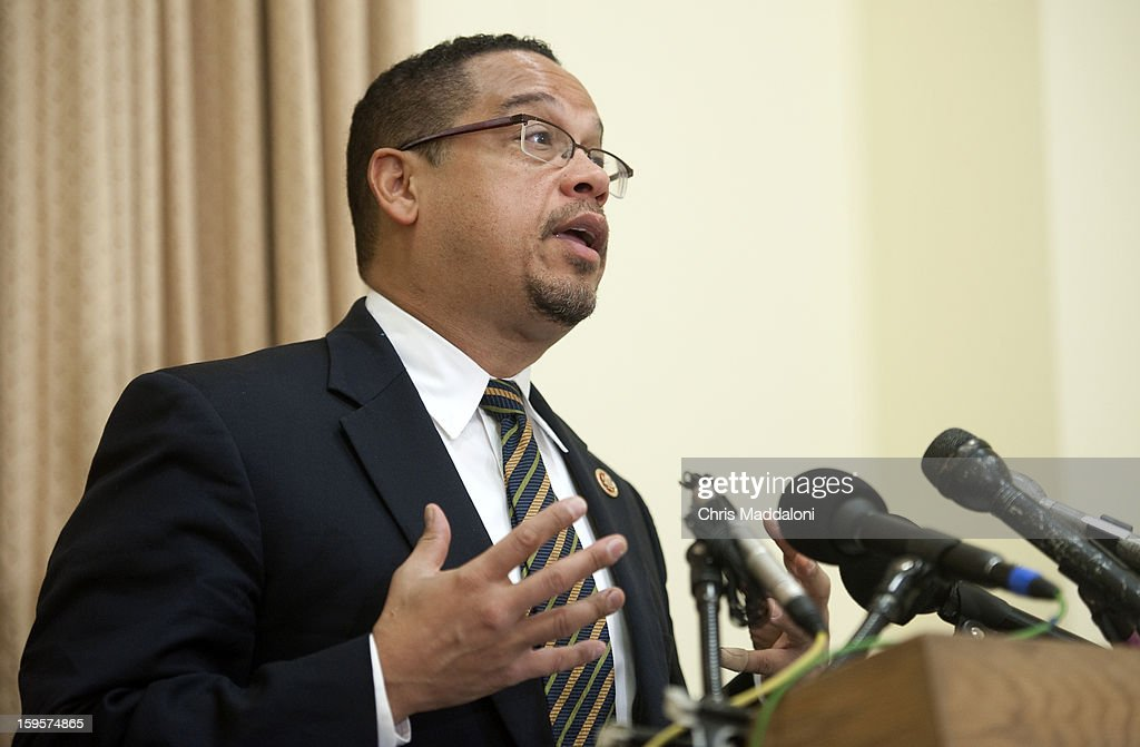 Rep. Keith Ellison, D-Mn., speaks during a news conference to announce new legislation to eliminate the federal debt ceiling.