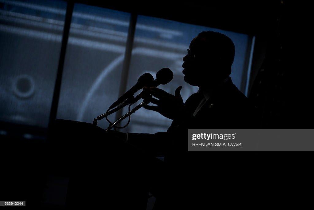 Rep. Keith Ellison (D-MN) speaks during a press conference about Islamophobia at the National Press Club May 24, 2016 in Washington, DC. / AFP / Brendan Smialowski
