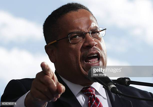 S Rep Keith Ellison speaks during a rally on jobs December 7 2016 at Freedom Plaza in Washington DC Our Revolution and Good Jobs Nation the organizer...