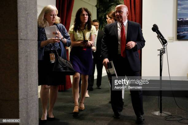 Rep Kevin Brady Chair of the House Ways and Means Committee departs after a meeting of House Republicans on Capitol Hill April 4 2017 in Washington...