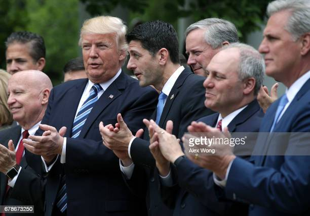 US Rep Kevin Brady President Donald Trump Speaker of the House Rep Paul Ryan House Majority Whip Rep Steve Scalise and House Majority Leader Rep...