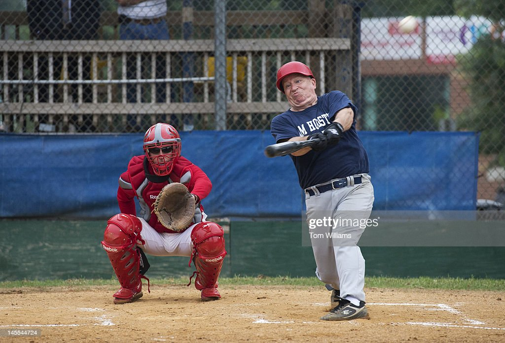 Rep. Kevin Brady, R-Texas, hits a double during republican baseball practice at Simpson Stadium in Alexandria, Va.