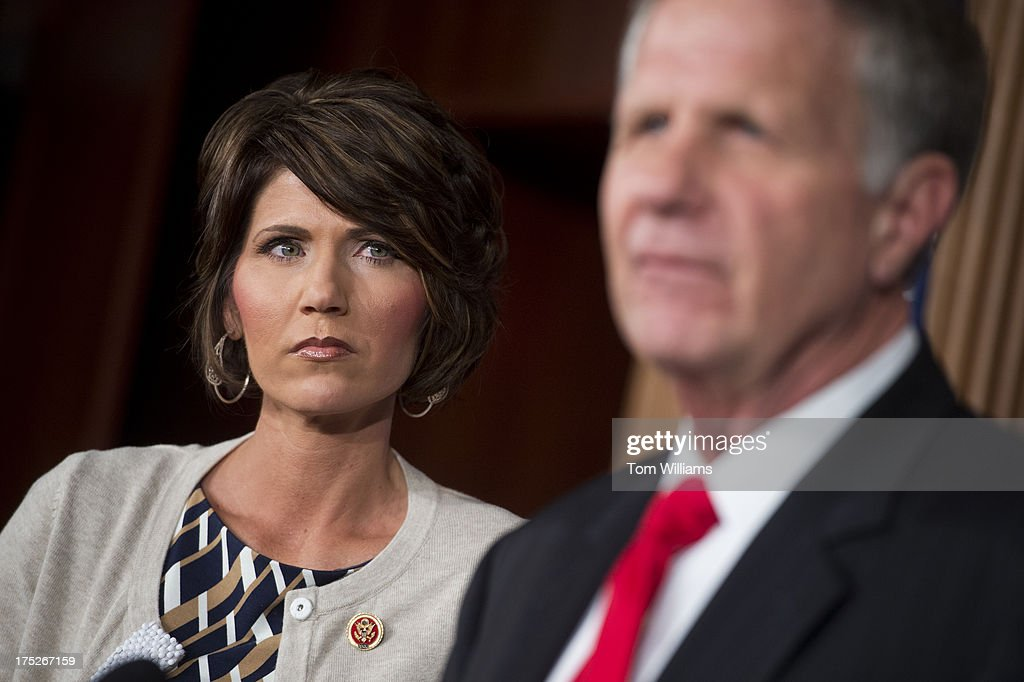 Rep. Kristi Noem, R-S.D., and Ted Poe, R-Texas, conduct a news conference in the Capitol on legislation to reduce human trafficking by targeting those who purchase sexual acts.
