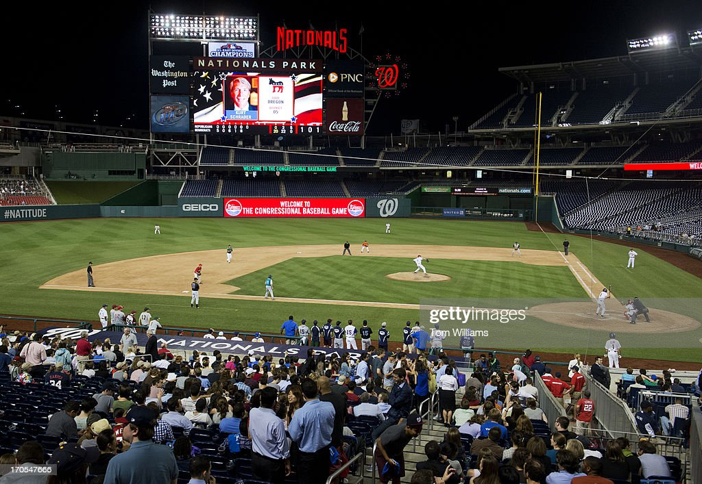 Rep. Kurt Schrader, D-Ore., bats during the Congressional Baseball game where the Democrats beat the Republicans 22-0 at Nationals Park.