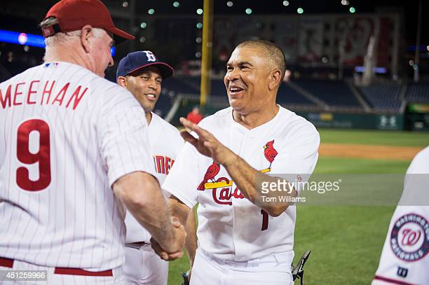 Rep Lacy Clay DMo right greets Rep Patrick Meehan RPa after the 53rd Congressional Baseball Game in Nationals Park June 25 2014 The Democrats...