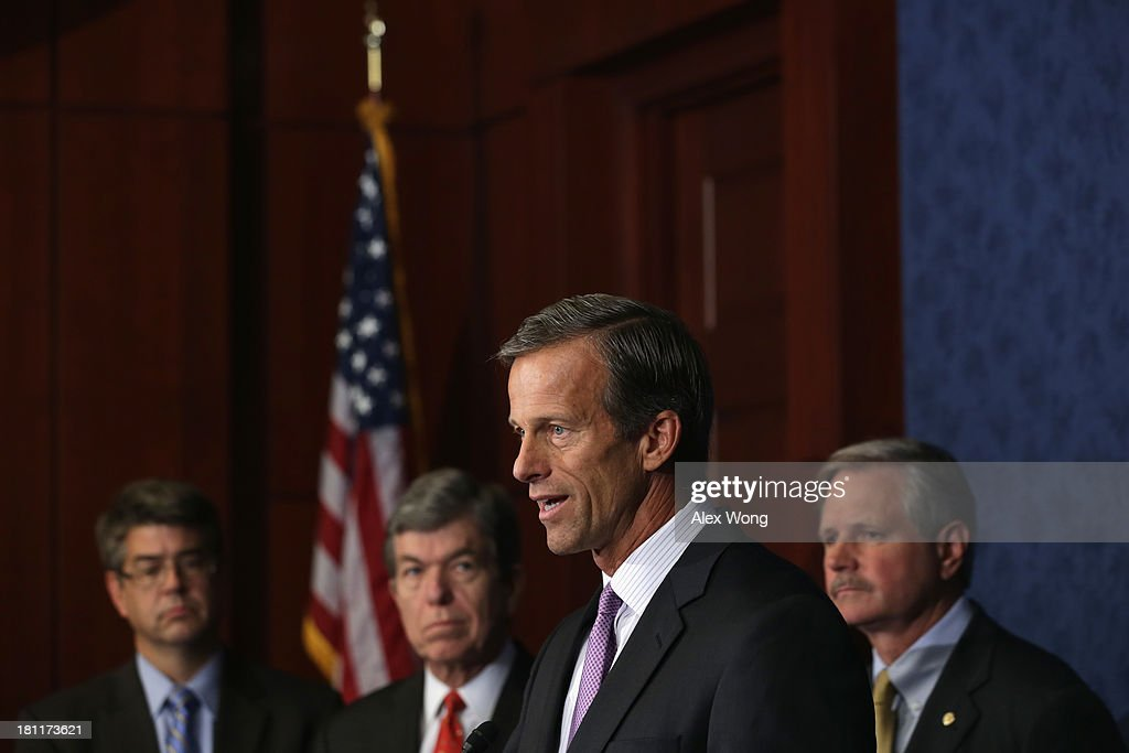 U.S. Rep. Lee Terry (R-NE), Sen. <a gi-track='captionPersonalityLinkClicked' href=/galleries/search?phrase=Roy+Blunt&family=editorial&specificpeople=233679 ng-click='$event.stopPropagation()'>Roy Blunt</a> (R-MO), Sen. <a gi-track='captionPersonalityLinkClicked' href=/galleries/search?phrase=John+Thune&family=editorial&specificpeople=534356 ng-click='$event.stopPropagation()'>John Thune</a> (R-SD), and Sen. <a gi-track='captionPersonalityLinkClicked' href=/galleries/search?phrase=John+Hoeven&family=editorial&specificpeople=3082698 ng-click='$event.stopPropagation()'>John Hoeven</a> (R-ND) attend a news conference September 19, 2013 on Capitol Hill in Washington, DC. The news conference was to called on the Obama Administration approve the Keystone XL pipeline project.