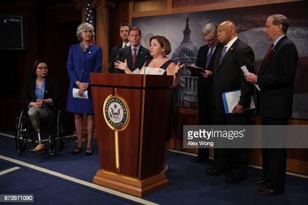 S Rep Linda Sanchez speaks as Sen Tammy Duckworth Rep Katherine Clark Rep John Sarbanes Sen Richard Blumenthal Sen Sheldon Whitehouse Rep Elijah...