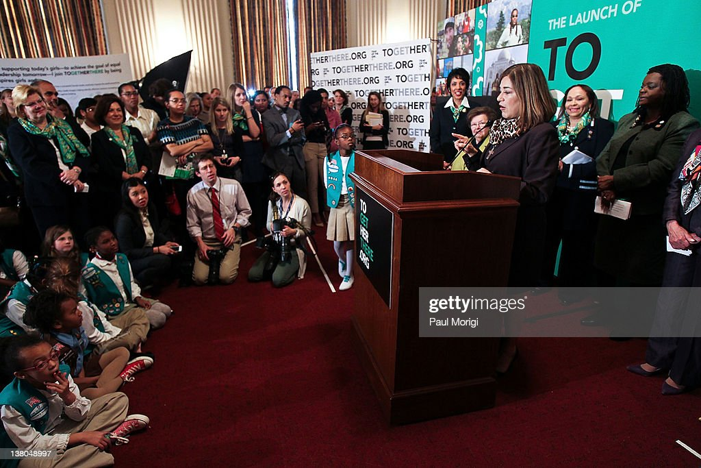 Rep. <a gi-track='captionPersonalityLinkClicked' href=/galleries/search?phrase=Loretta+Sanchez&family=editorial&specificpeople=859786 ng-click='$event.stopPropagation()'>Loretta Sanchez</a> (D-CA) shares remarks at Girl Scouts At 100: The Launch of ToGetHerThere at Capitol Hill Cannon House Office Bldg, Caucus Room on February 1, 2012 in Washington, DC.