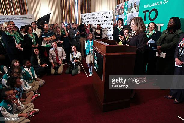 Rep Loretta Sanchez shares remarks at Girl Scouts At 100 The Launch of ToGetHerThere at Capitol Hill Cannon House Office Bldg Caucus Room on February...
