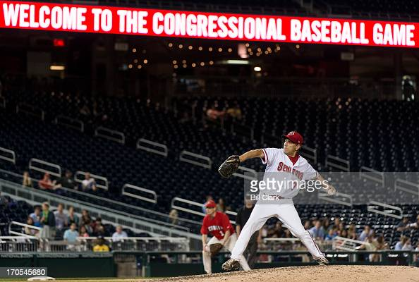 Rep Lou Barletta RPa pitches during the 52nd annual Congressional Baseball Game at national Stadium in Washington on Thursday June 13 2013