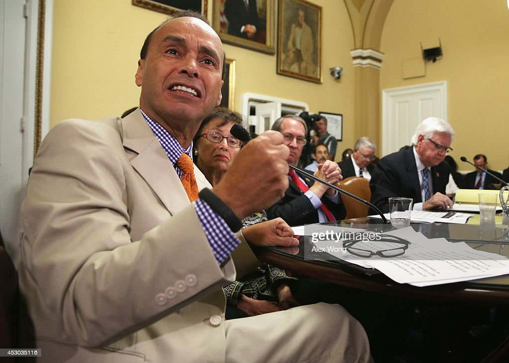 US Rep Luis Gutierrez speaks as Rep Nita Lowey and Rep Hal Rogers and Rep Bob Goodlatte listen duirng a House Rules Committee meeting August 1 2014...