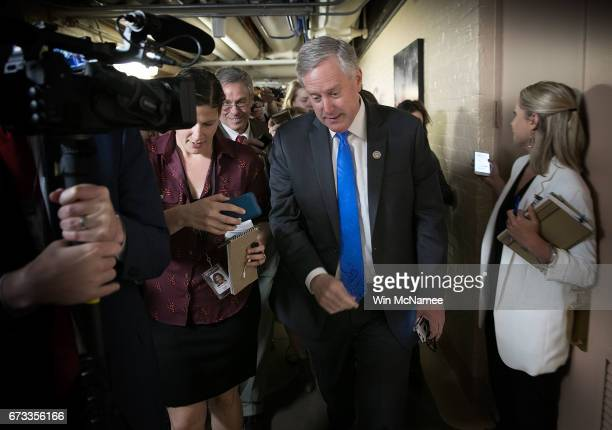 Rep Mark Meadows Chairman of the House Freedom Caucus answers questions while leaving a meeting of the House Republican caucus at the US Capitol...