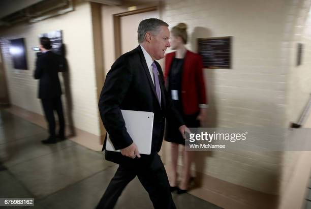 Rep Mark Meadows Chairman of the House Freedom Caucus leaves a meeting of the House Republican caucus at the US Capitol May 2 2017 in Washington DC...