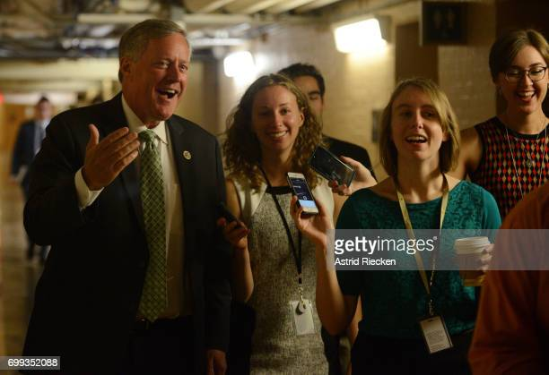 Rep Mark Meadows followed by reporters smiles while on his way to join US Speaker of the House Rep Paul Ryan And GOP House Leadership on Capitol Hill...