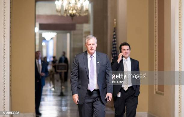 Rep Mark Meadows RNC chairman of the House Freedom Caucus walks to the Senate side of the Capitol as Senate Republicans gather for lunch in the...