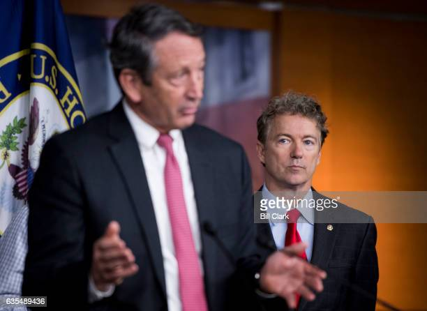 Rep Mark Sanford RSC left and Sen Rand Paul RKy along with members of the House Freedom Caucus hold a news conference on Affordable Care Act...