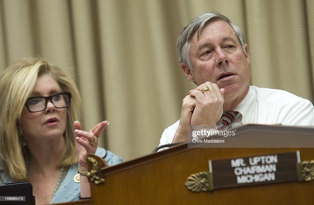 Rep. Marsha Blackburn, R-Tn., and Chairman Fred Upton, R-Mich., at a House Energy and Commerce Committee meeting. It is the first formal organizational meeting of the committee for the 113th Congress.