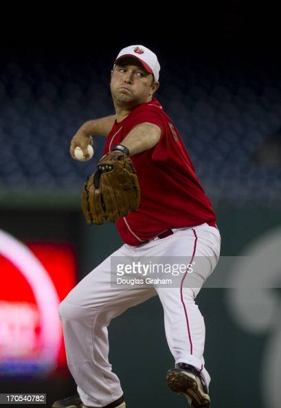 Rep Martin Stutzman during action at the 52nd annual Congressional Baseball Game at National Stadium in Washington on Thursday June 13 2013
