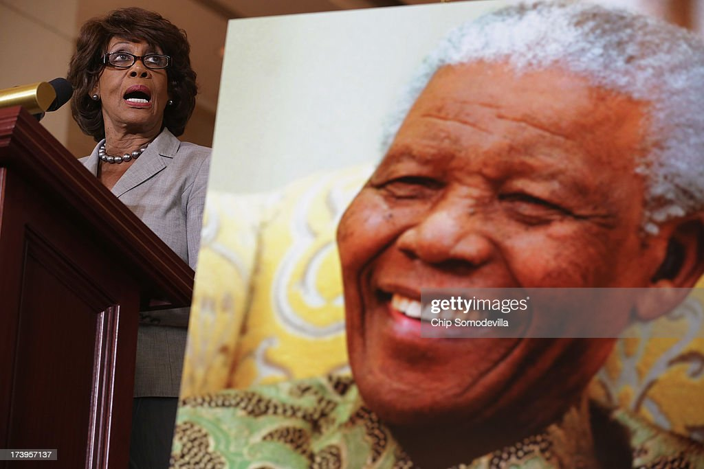 Rep. <a gi-track='captionPersonalityLinkClicked' href=/galleries/search?phrase=Maxine+Waters&family=editorial&specificpeople=220525 ng-click='$event.stopPropagation()'>Maxine Waters</a> (D-CA) delivers remarks during a ceremony to celebrate the life Nobel Peace Prize laureate and former South Africa President Nelson Mandela on the occasion of his 95th birthday in the U.S. Capitol Visitor Center July 18, 2013 in Washington, DC. July 18 is Nelson Mandela Day, during which people are asked to give 67 minutes of time to charity and service in their community to honor the 67 years Mandela gave to public service. Mandela was admitted to a South African hospital June 8 where he is being treated for a recurring lung infection.
