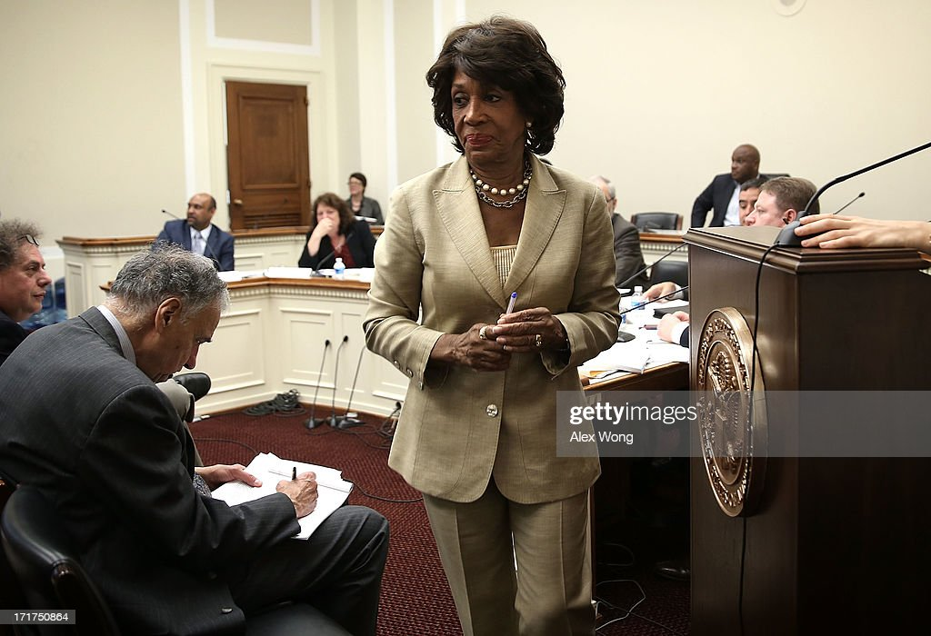 U.S. Rep. Maxine Waters (D-CA) leaves for a vote on the House floor during a discussion June 28, 2013 on Capitol Hill in Washington, DC. Rep. Waters held the discussion on 'A Way Forward For Housing Finance Reform: Finding Sustainable Solutions to Ensure Access, Affordability, and Taxpayer Protection Part II.'