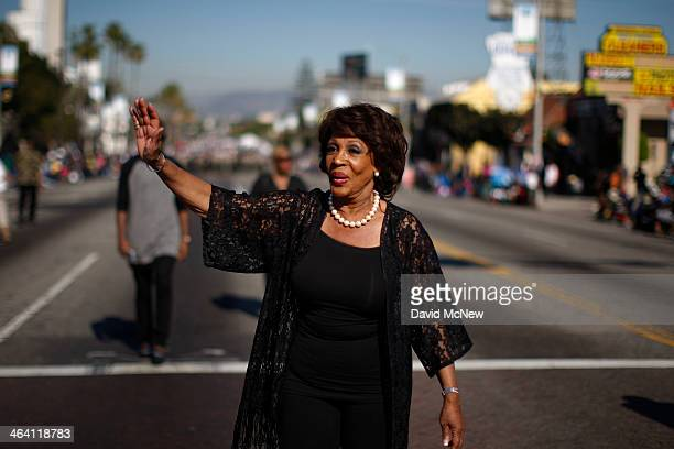 S Rep Maxine Waters marches in the 29th annual Kingdom Day Parade on January 20 2014 in Los Angeles California The Kingdom Day Parade honors the...