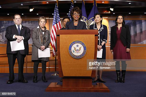 Rep Maxine Waters speaks at a press conference on Capitol Hill January 31 2017 in Washington DC Waters called for investigation into Trump...