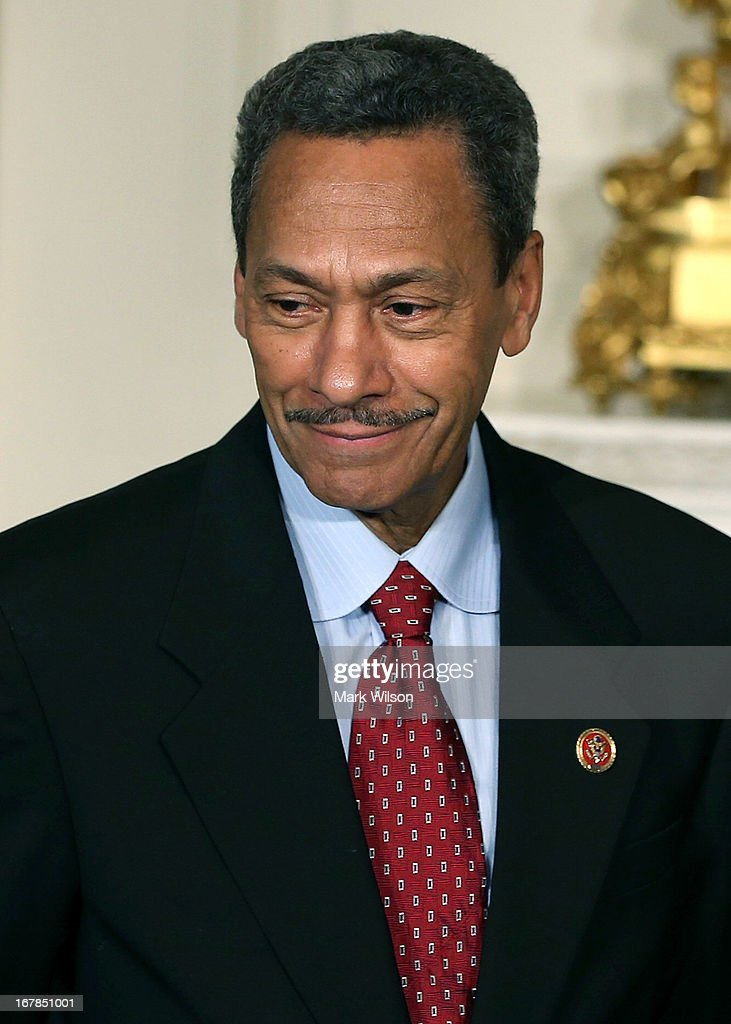US Rep Mel Watt looks on after US President Barack Obama nominated him to be the next director of the Federal Housing Finance Agency during a...