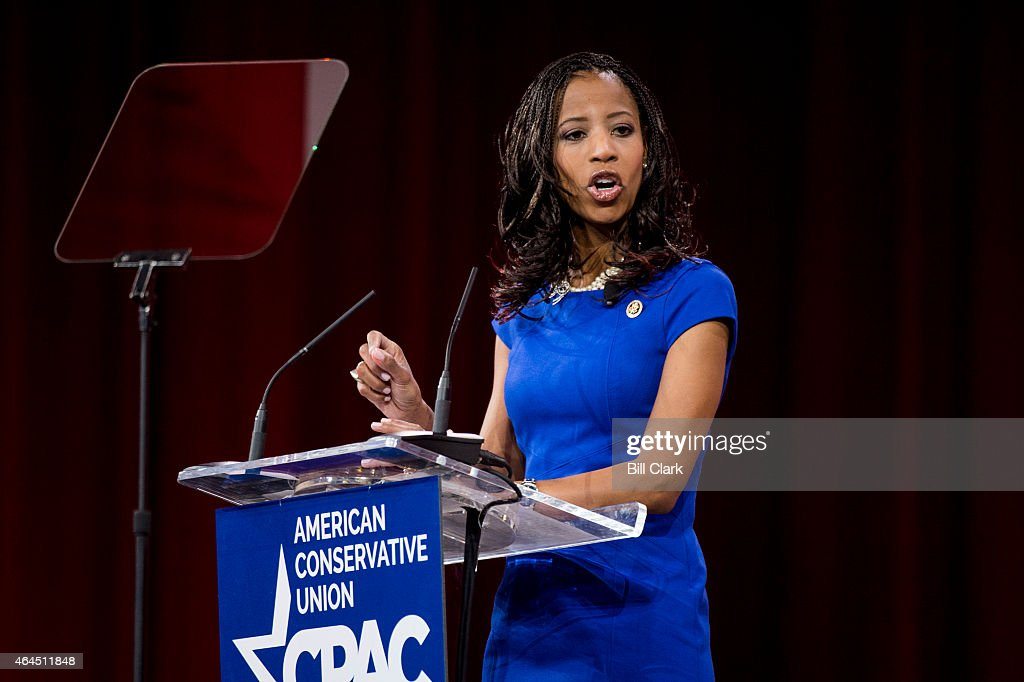 Rep. <a gi-track='captionPersonalityLinkClicked' href=/galleries/search?phrase=Mia+Love&family=editorial&specificpeople=8937528 ng-click='$event.stopPropagation()'>Mia Love</a>, R-Utah, speaks to the crowd at CPAC in National Harbor, Md., on Feb. 26, 2015.