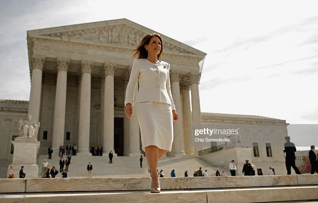 Rep. <a gi-track='captionPersonalityLinkClicked' href=/galleries/search?phrase=Michele+Bachmann&family=editorial&specificpeople=5578664 ng-click='$event.stopPropagation()'>Michele Bachmann</a> (R-MN) leaves the U.S. Supreme Court after the third day of oral arguements over the constitutionality of the Patient Protection and Affordable Care Act March 28, 2012 in Washington, DC. Today is the last of three days the high court set to hear arguments over the act.
