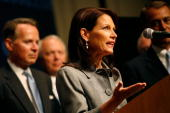 S Rep Michele Bachmann speaks during a press conference about Republican US presidential nominee US Sen John McCain's energy policy on day three of...