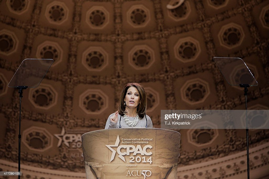 U.S. Rep. <a gi-track='captionPersonalityLinkClicked' href=/galleries/search?phrase=Michele+Bachmann&family=editorial&specificpeople=5578664 ng-click='$event.stopPropagation()'>Michele Bachmann</a> (R-MN) speaks during the 41st annual Conservative Political Action Conference at the Gaylord International Hotel and Conference Center on March 8, 2014 in National Harbor, Maryland. The conference, a project of the American Conservative Union, brings together conservatives polticians, pundits and voters for three days of speeches and workshops.