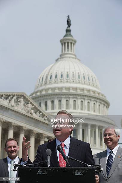Rep Mick Mulvaney speaks during a news conference with a bipartisan group of House members including Rep Patrick Murphy and Rep John Barrow outside...