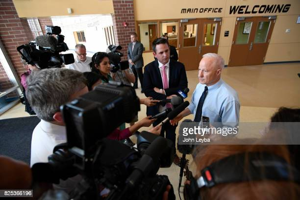 S Rep Mike Coffman holds a gaggle with the media before his town hall at Prairie View High School in on August 1 2017 Henderson