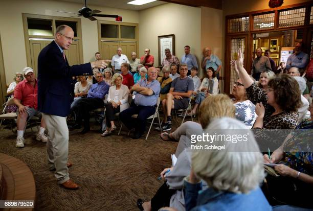 S Rep Mike Conaway holds a town hall meeting with constituents at the Mason County Library on April 18 2017 in Mason Texas Conaway is replacing...