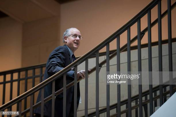 Rep Mike Conaway who took over the lead on the committee's investigation after committee chairman Rep Devin Nunes recused himself walks through the...