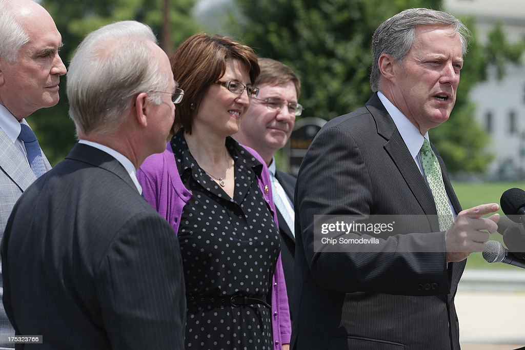 Rep. Mike Kelly (R-PA), Rep. Tom Price (R-GA), House Republican Conference Chairman Rep. Cathy McMorris Rodgers (R-WA), Rep. Todd Young (R-IN) and Rep. Mark Meadows (R-NC) hold a brief news conference outside the U.S. Capitol August 2, 2013 in Washington, DC. With Congress heading into its summer recess, the representatives held the news conference to 'highlight House Republicans' efforts to stop government abuse and restrain a runaway government.'