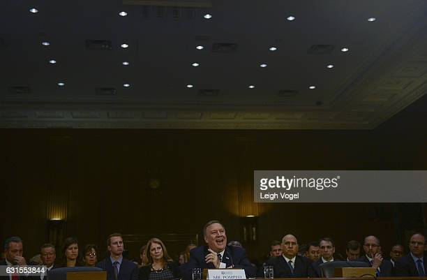 Rep Mike Pompeo nominee for the director of the CIA attends his confirmation hearing before the Senate Intelligence Committee at the Dirksen Senate...